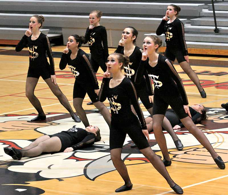 by: MARK GARBER - Canby High School dance team at Dance Category Championships at Oregon City High School.