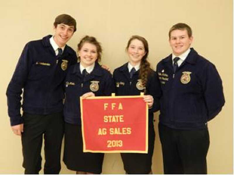 by: SUBMITTED PHOTO - The quartet of Collin Mattias Caitlyn Tietz, Ashley Marks and Ben Vandermolen placed second at state in ag sales.
