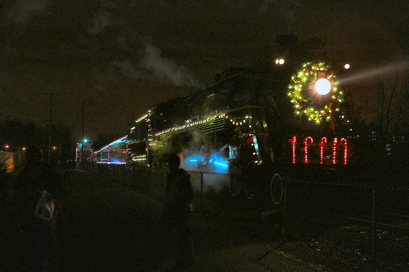 by: DAVID F. ASHTON - Chugging slowly to a stop after dark at the Oaks Park Station, its the City of Portland-owned historic steam locomotive, the Spokane Portland & Seattle #700.