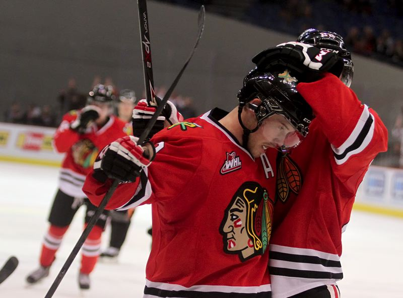 by: TRIBUNE PHOTO: JONATHAN HOUSE - Portland Winterhawks forward Chase De Leo celebrates his goal Tuesday against Everett.