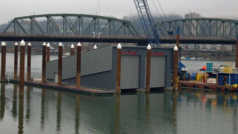 by: PORTLAND FIRE AND RESCUE - On Tuesday, Portland Fire and Rescue's new boathouse was installed.