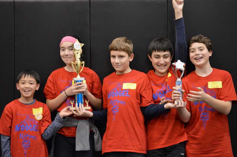 by: SUBMITTED PHOTO - The NOOGEL robotics team earned some major awards at recent qualifying tournaments for a state competition. Team members are, from left: Kevin Tsai, Sophie Villeneuve, Clay Skeen, Carl Bergstrom and Jack Bride.