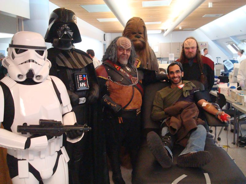 by: COURTEST PHOTO: DAPHNE MATHEW, AMERICAN RED CROSS  - Star Wars and Star Trek club members turned out to boost donations at the 2010 Galaxy Blood Drive, which was won by the Star Wars fans.