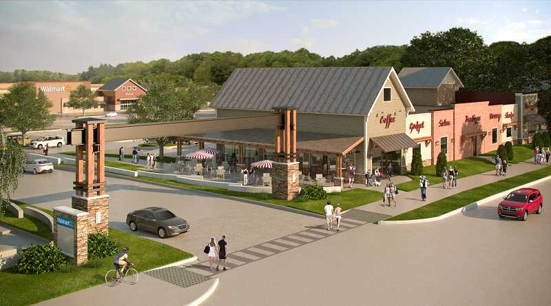 by: GRAMOR DEVELOPMENT - Here's an architectural rendering of how an entrance into Parkway Village at Sherwood along Langer Farms Parkway will look.