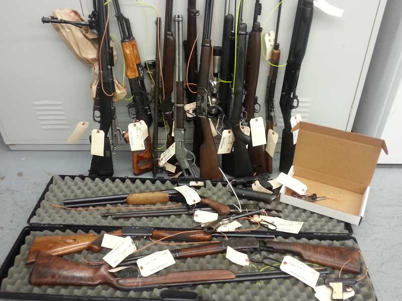 by: CLACKAMAS COUNTY SHERIFF'S OFFICE - Firearms found in Urban's residence