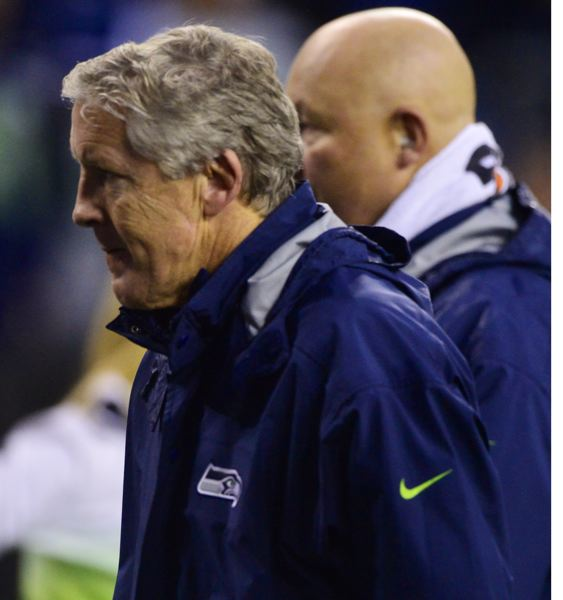 Seattle Seahawks Pete Carroll leaves the field after his team's third loss of the season.