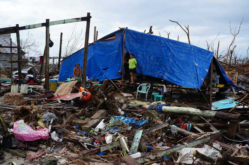 by: SUBMITTED PHOTO - A makeshift shelter was created in the aftermath of the storm in Guiuan.