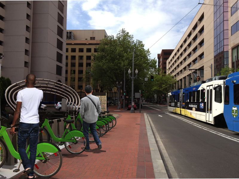 by: PHOTO: COURTESY ALTA BICYCLE SHARE - This composite illustration shows what bike sharing could look like in downtown Portland, where 75 stations holding 10 bikes each should begin operating in summer 2014.