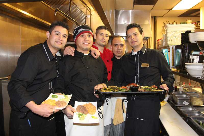 by: LINDSAY KEEFER - Trapala Restaurant opened last month and is run by the Trapala brothers and their friend:(from left) Severo Trapala, Carlos Trapala, Edmundo Trapala, Carlos Gonzales and Lamberto Trapala.