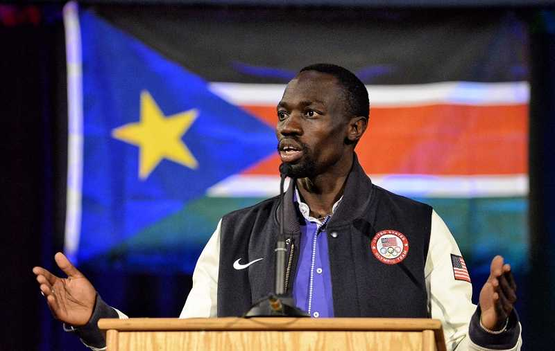 Olympic distance runner Lopez Lomong visited Canby in March.