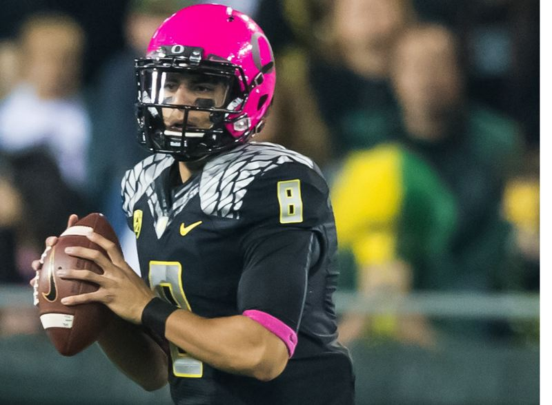 by: COURTESY OF MICHAEL WORKMAN - Marcus Mariota, Oregon Ducks quarterback, says he's glad to have made a quick decision to stick with college football.