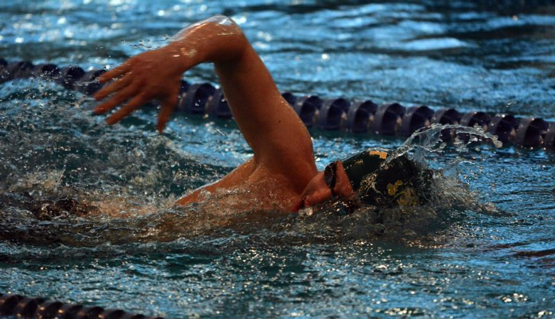 by: PAMPLIN MEDIA GROUP: MATT SINGLEDECKER - Jesuit High's Jackson Wahl won the 500 freestyle against Southridge.