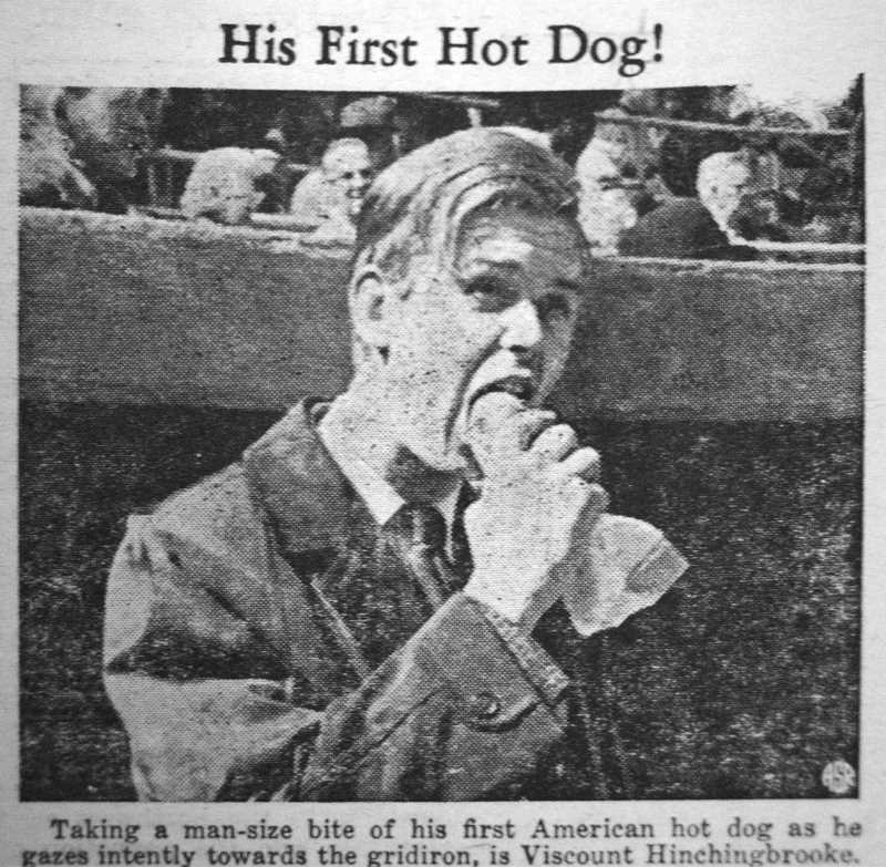 by: ARCHIVE PHOTO - British Viscount Hinchingbrooke tries his first hotdog on a visit to the United States.