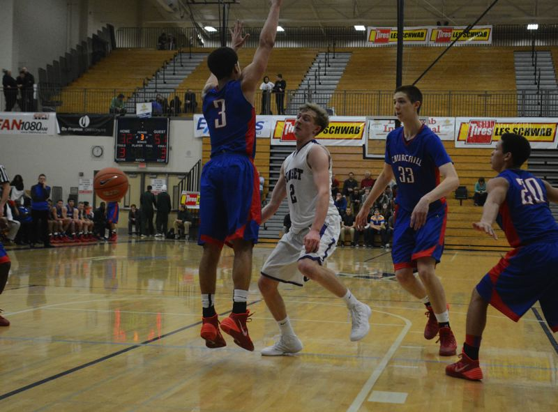 by: TIMES PHOTO: MATT SINGLEDECKER - Sunset senior wing Jeff Bieber drops off a pass to an Apollo cutter in the fourth quarter of Sunset's loss to Churchill in the first round of the Les Schwab Invitational on Friday. Bieber had 19 points and 12 rebounds.