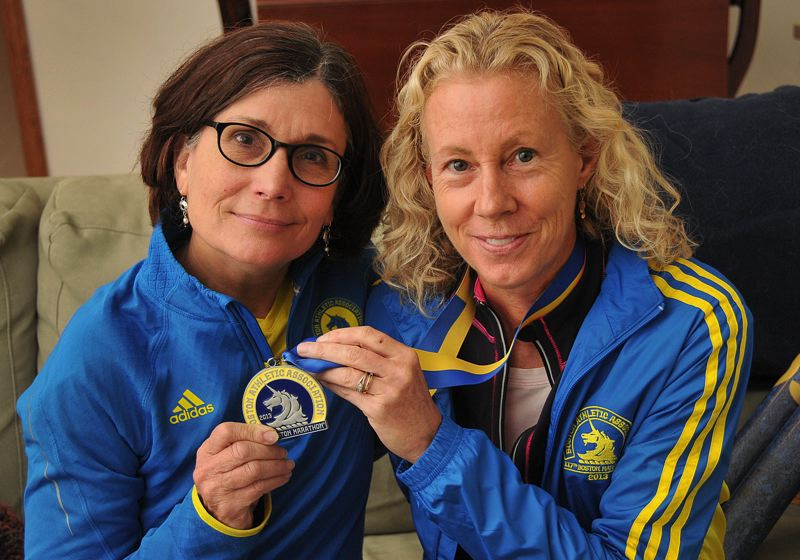 by: CONNECTION PHOTO: VERN UYETAKE - Claire Carder and Sue Strater survived the Boston Marathon bombings.