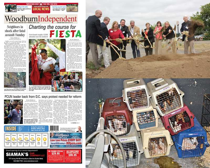 by: FILE PHOTOS - The year 2013 saw a variety of headlines from the start of the Interstate 5 Interchange Project (top right), heralded in by local government officials to one of Oregon's largest animal neglect cases (bottom right) to an eventful summer, including the 50th Fiesta Mexicana, a protest and a murder, as featured in the Aug. 7 issue (left).