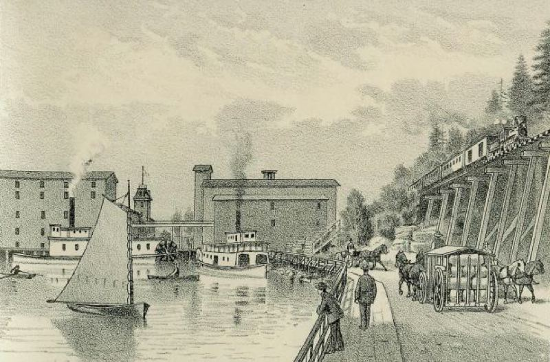 by: WEST SHORE MAGAZINE - The West Shore sketch from 1887 of the Imperial Mills would have been drawn during the era of the Portland Flouring Mills.