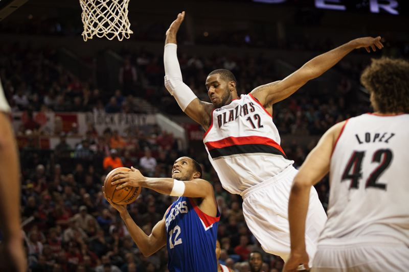 by: TRIBUNE PHOTO: MEG WILLIAMS - LaMarcus Aldridge, going up to block a shot by Philadelphia's Evan Turner in their game last Saturday, will lead the Trail Blazers at Sacramento on Tuesday night.