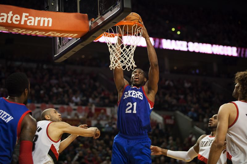Thaddeus Young dunks for the Sixers.