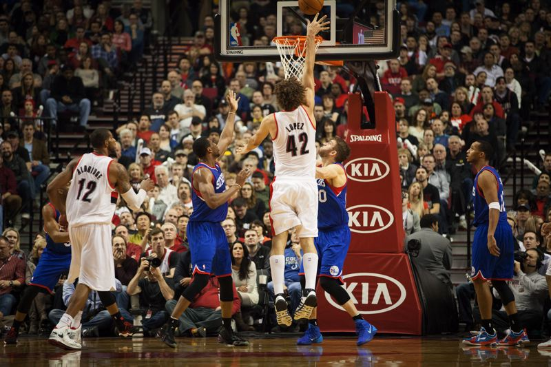 Portland center Robin Lopez puts up a mid-range shot nea the end of the game.