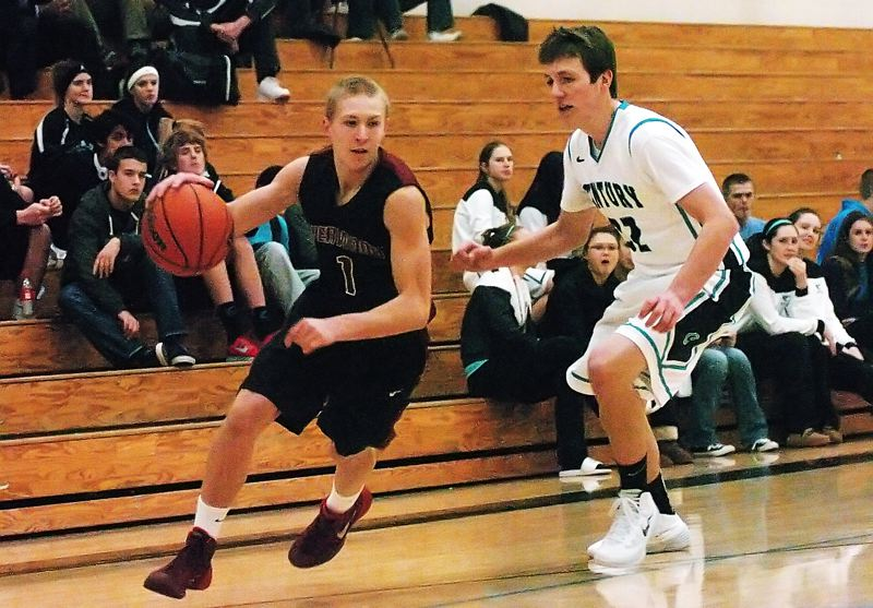 by: DAN BROOD - ON THE DRIVE -- Sherwood junior guard Evan Kitto (left) gets to the corner ahead of Century's Ryan Durrant.