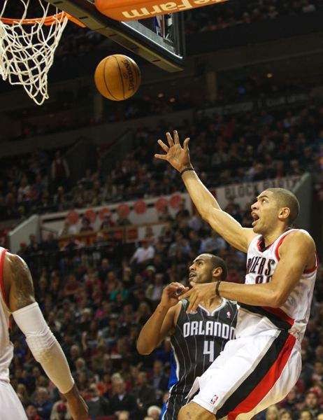 Nicolas Batum, who had a triple-double (14 points, 10 rebounds, 14 assists), lets go with a shot.
