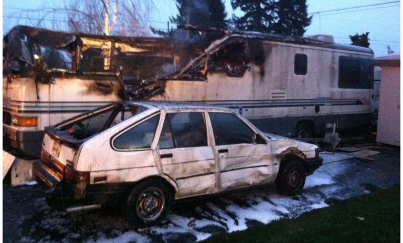 by: COURTESY OF CLACKAMAS COUNTY FIRE DISTRICT NO. 1 - One person died early Friday morning, Jan. 10, in a fire that destroyed a large mobile home on Southeast Glencoe Road in Milwaukie.