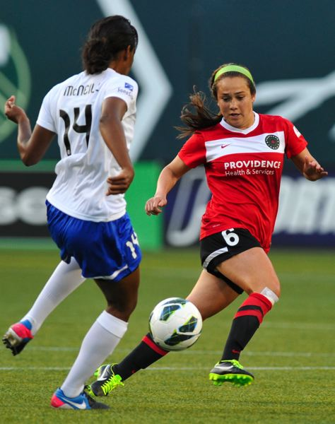 by: COURTESY OF JOHN LARIVIERE - Meleana Shim (right), who helped the Portland Thorns win their league title in 2013, has been claimed by the expansion Houston Dash of the National Women's Soccer League.