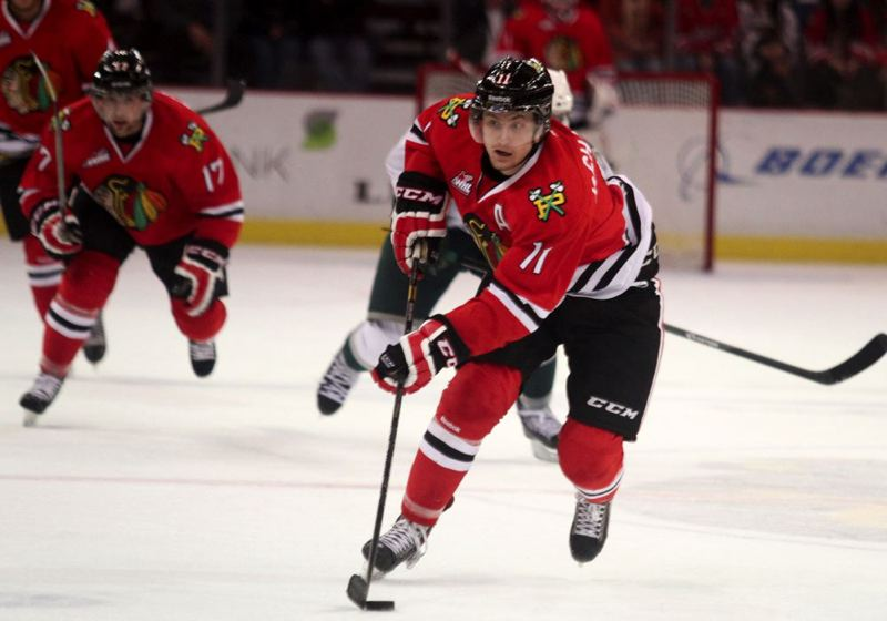 by: TRIBUNE FILE PHOTO: JONATHAN HOUSE - Adam De Champlain, Portland Winterhawks forward, scored the final regulation goal on a four-game trip, as the Hawks won 5-4 in a shootout Sunday at Vancouver.