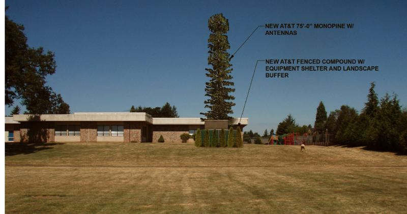 by: AT&T - A rendering of the view from the southeast of the proposed cell-phone tower at McLoughlin Elementary in Oregon City.