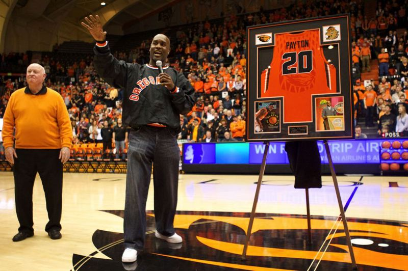 by: TRIBUNE PHOTO: JAIME VALDEZ - Oregon State honors former Beavers basketball great Gary Payton at halftime of last week's Cal game. Jimmy Anderson (left) was one of Payton's coaches.