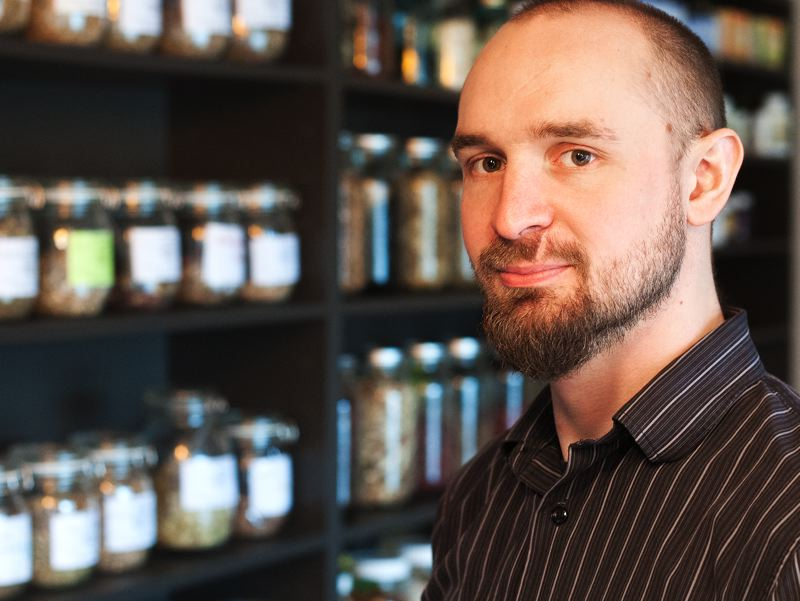 by: SPOKESMAN PHOTO: JOSH KULLA - Acupuncturist Doug Wingate likes to keep an array of herbal remedies on display for people to view. Theyre colorful and often provoke interest in passersby.