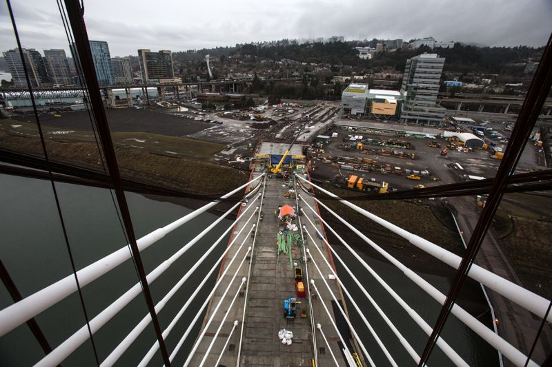 by: TRIBUNE PHOTO: JONATHAN HOUSE - The view from the top of the transit bridge scheduled to open on Sept. 12, 2015.