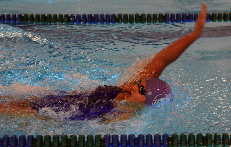 by: TIMES PHOTO: MATT SINGLEDECKER - Sunset girls swimmer Hanskia Rau won the 200 IM for the Apollos who rolled over Aloha on Thursday.