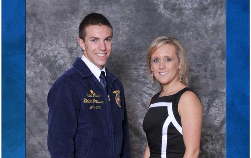 Isaac Fisher, left, with FFA advisor Nichole Scholz.