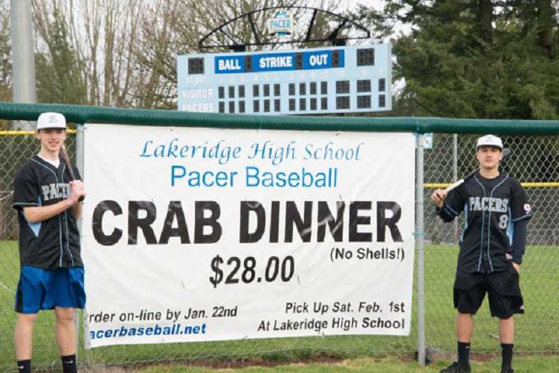 by: SUBMITTED PHOTO: JULIE DEMONICO - Mitch Mueller, left, and Jack Daraee are Pacer baseball players raising awareness about a crab feed fundraiser.