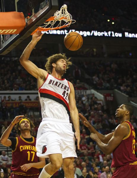 Robin Lopez finishes a dunk.
