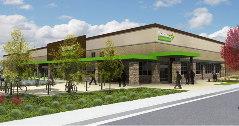 by: COURTESY IMAGE - An artists rendition of the proposed Hillsboro WalMart neighborhood market. This rendering was part of the original presentation to the Hillsboro Planning Commission, and the design is subject to change based on input project proponents received from the citys planning commissioners and the public at the Nov. 13 hearing.