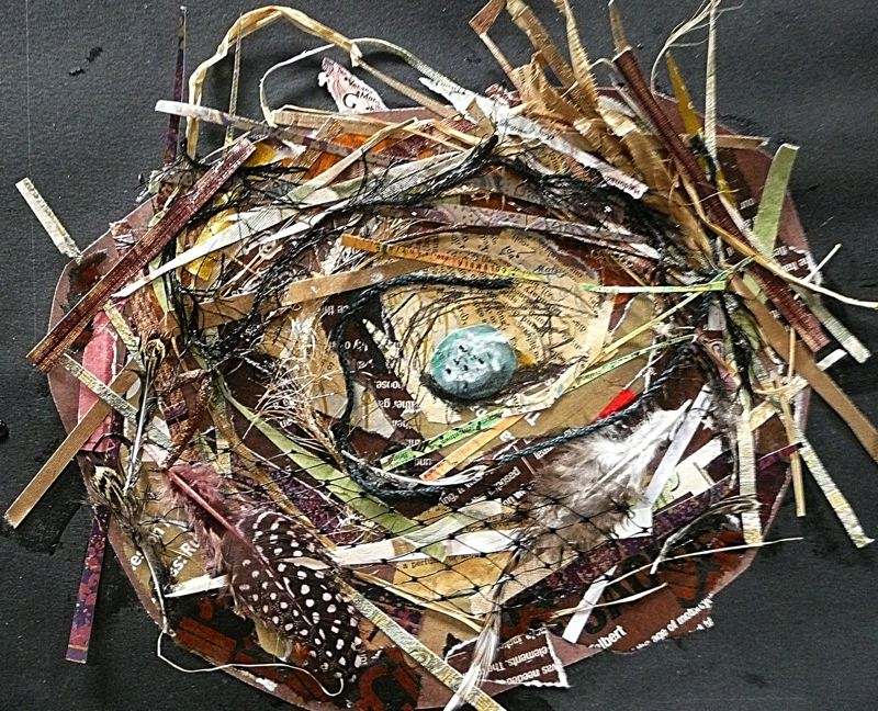 by: PHOTO: SUSAN SCHENK - Birds' nests are a favorite collage subject for Wilsonville artist Susan Schenk, who said she gets more requests to explain this type of image than any other.