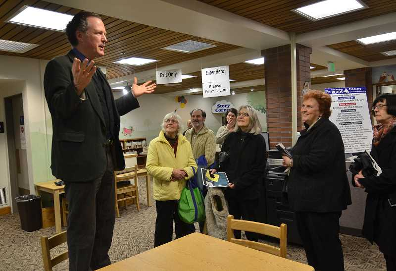 by: VERN UYETAKE - Kim Stafford, William Stafford's son and literary executor, welcomed the crowd at the Lake Oswego Reads kickoff event Jan. 7. He will speak at the conclusion of the Wilsonville series.