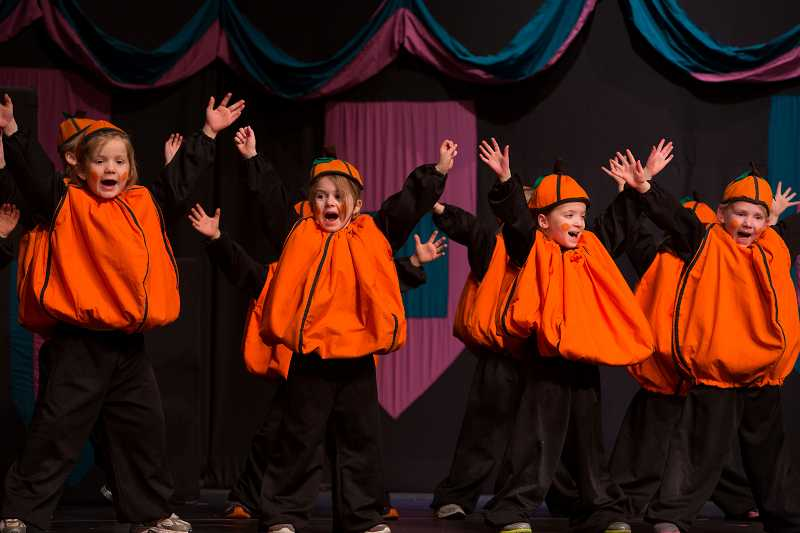 by: SUBMITTED PHOTO: LIONEL COLEMAN - Cinderella featured some singing, grooving pumpkins, from left: Lexi Jett, Sammy Melton, Aliya DiVergilio and Kendall Jarman.