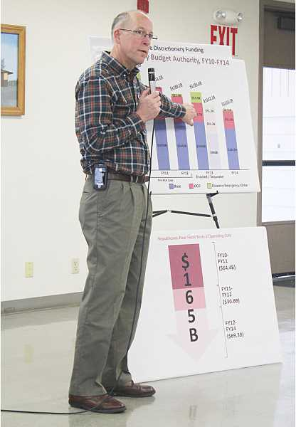 by: HOLLY M. GILL - Rep. Greg Walden refers to budget charts at his town hall Monday.