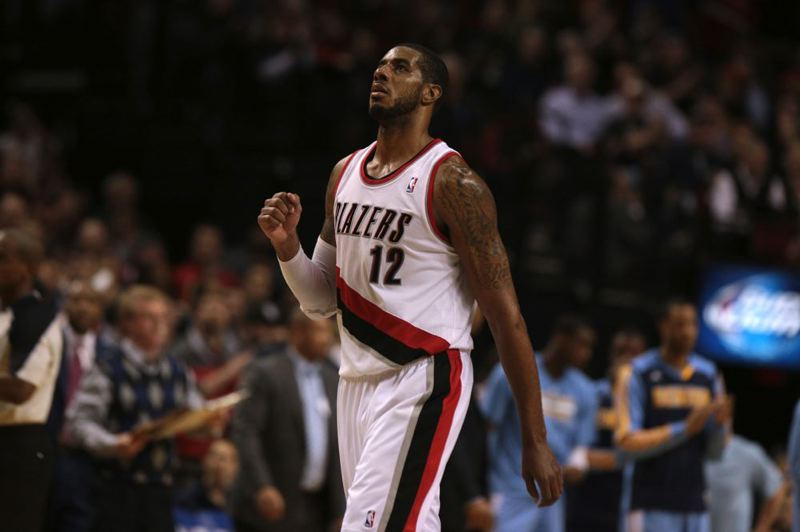 LaMarcus Aldridge quietly celebrates another score against Denver.