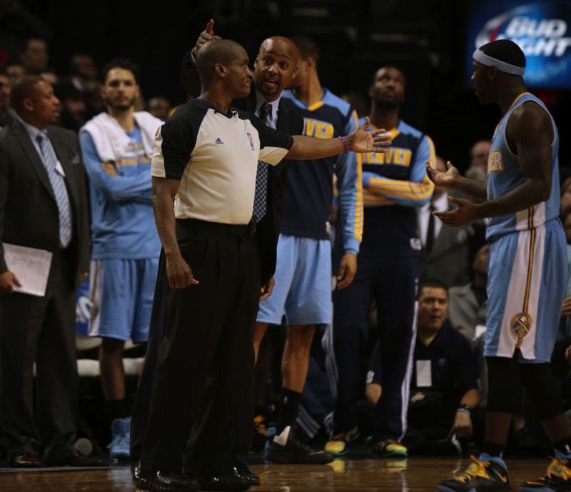 Denver coach Brian Shaw argues a call.