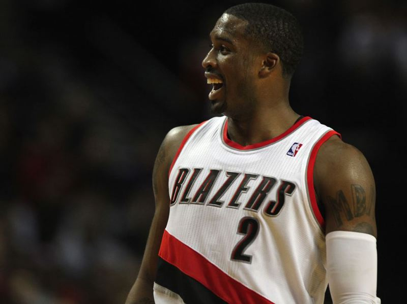 Wesley Matthews finds something amusing.