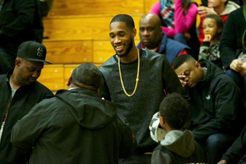 Trail Blazers guard Will Barton meets with fans during Friday night's Madison-Jefferson boys basketball game at Jeff.