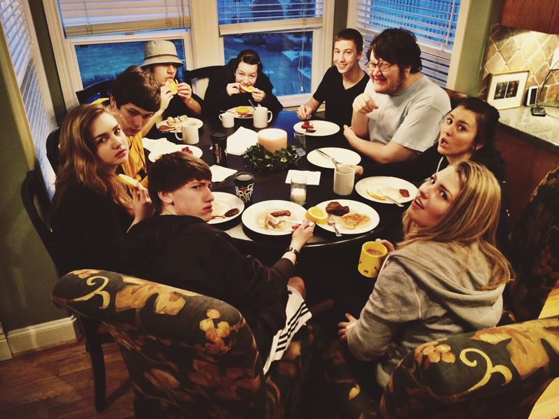by: PHOTO COURTESY: HOPE ALEXANDER - Before filming their remake of 'The Breakfast Club,' this is usually how the cast and crew look at 7 a.m. Clockwise from right, Katie Yate Ryan Coyle, Heron Bratschi, Sierra Amanda Bish, Jacob Linn, Tony Calambrogio, Haley Bricker, Hope Alexander and Calen Coates. (Not pictured: tech crew members Travis Whittaker, Guyanna Sundeen.)