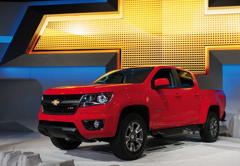 by: COURTESY OF JOHN VINCENT - Smaller trucks are getting hard to find, but Chevy thinks theres a market for the redesigned 2014 Colorado, shown here at the recent Los Angeles Auto Show.