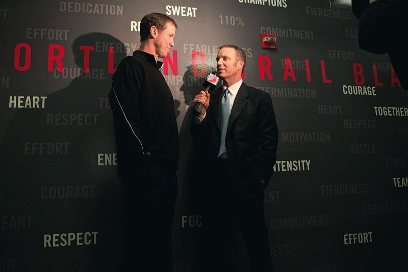 by: TRIBUNE PHOTOS: JAIME VALDEZ - Before the Trail Blazers take to the court against the Minnesota Timberwolves, Portland team broadcaster Mike Barrett interviews coach Terry Stotts.