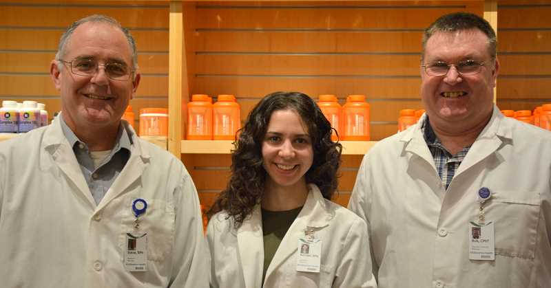 by: SUBMITTED - The Woodburn Health Center pharmacy will be manned by (from left) pharmacists Steve Evans and Rachael Hills and Rob Beierle, pharmacy technician.